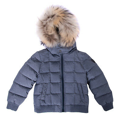 FENDI ROMA Down Quilted Jacket Size 4Y Fur Trim Full Zip Made in Italy