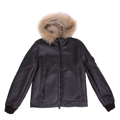 STONE ISLAND JUNIOR Leather Jacket Size 14Y Fur Trim Made in Italy RRP €1350
