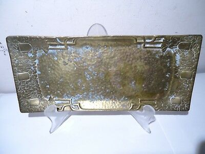 Arts & Crafts Art Deco Heavy Brass Hammered Pen Tray Floral 25 Ounces