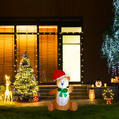 Glitzhome 2.95FT Lighted Up Inflatable Little Bear Christmas Outdoor Yard Decor