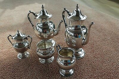 Vintage 5-piece Academy Silver on Copper Coffee & Tea Set Weighs 4 ½ lbs