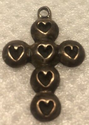 Vintage Sterling Silver Cross With Hearts
