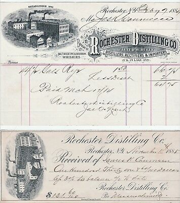 RARE -1884 Advertising Billhead & Receipt - Rochester NY Distilling Co - Whiskey