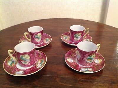 4 Vintage Handpainted Scenic Gilted Nippon Demitassee Cups & Saucers