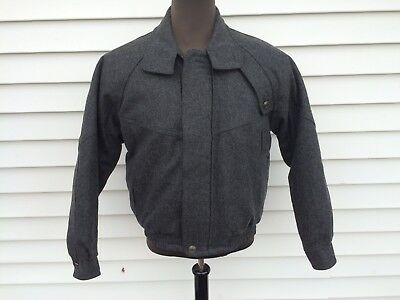 Vintage Hunting Horn J Riggings Gray Wool Bomber Coat Mens Medium
