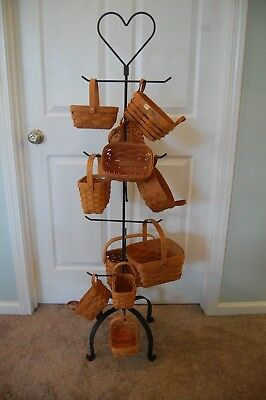 Amish Hand Made Heart Wrought Iron Tree Hanger Stand For Longaberger Baskets