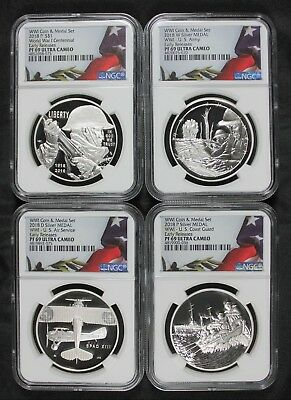 (4pc) SET NGC PF69 ER 2018 WWI COIN SET COMMEMORATIVE SILVER DOLLAR & MEDALS
