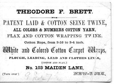 1850s Coated Stock Business card, Manufacturer of Twine & Yarn