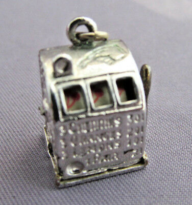3D Vintage Sterling Bracelet Charm Articulated Casino Gambling Slot Machine