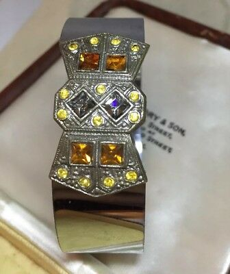 vintage Art Deco Jewellery beautiful Geometric design Opening bangle