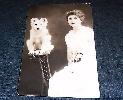 RPPC - Woman and Dog on Wooden Stand, Vintage Postcard