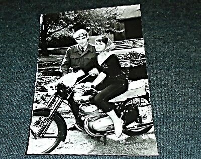 RPPC - Pretty Woman on Motorcycle, BSA or Triumph ??? Vintage Postcard