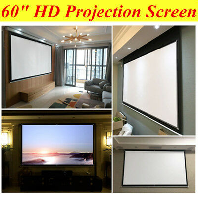 """16:9 60"""" Collapsible Projection Screen 3D HD Rodless Foldable Portable Projector"""