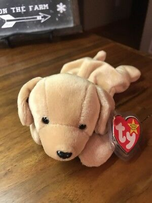Ty Beanie Baby Fetch The Tan Brown Puppy Dog 1998 Retired Bean Bag Plush Toy