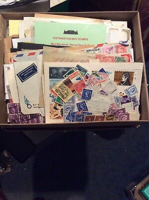Box & Job lot Of Thousands Of Old Stamps. Approx 1.50kg. Bibs & Bobs Etc.