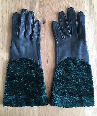 Vintage Pair Of Green Leather Gloves With Green Crushed Velvet Gauntlet