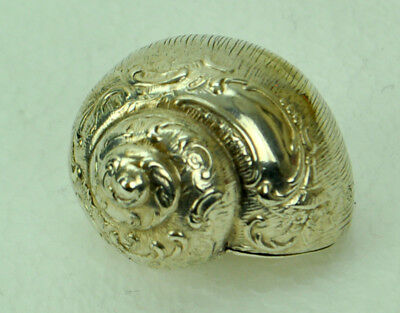 Antique Sterling Silver Large Conch Shell Snuff Box w/ Repousse Decoration ETB