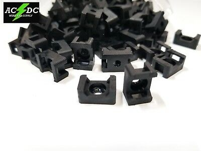 100 pcs Pack 15mm Cable Tie Mount Base Saddle Wire Holder Screw-in BLACK
