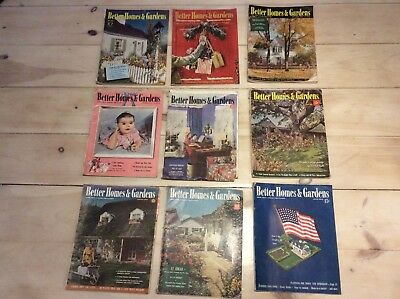 Lot of 9 Vintage BETTER HOMES & GARDENS Magazine 1941 & 1942 WWII