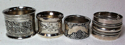 Silverplate Antique Napkin Rings Lot of 4 One Possibly Silver Ca. Late 1800's