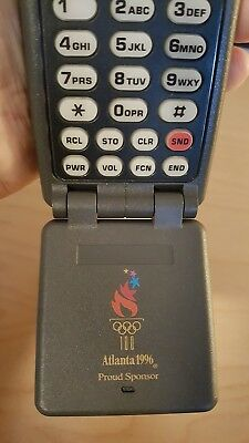 Vintage Motorola DPC550 1996 Olympics collectible flip phone + leather case