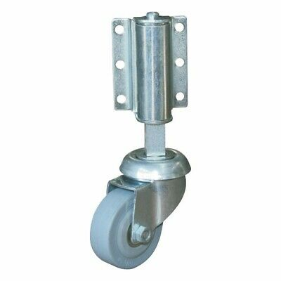 "1x spring loaded gate castor with 50mm (2"") grey rubber wheel 50kg"