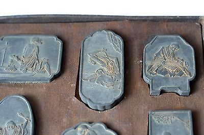 Chinese Ink Sticks, Set of 10 Antique Ink Stones signed Picture Blocks Asian