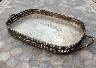 Antique Large Victorian Silver Plated Tray,Chased Sheffield,Pierced Gallery,Feet