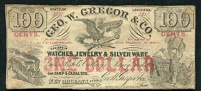 "1860'S $1/100 Cents Geo. W. Gregor & Co. ""Ad Note"" New Orleans, La Obsolete"
