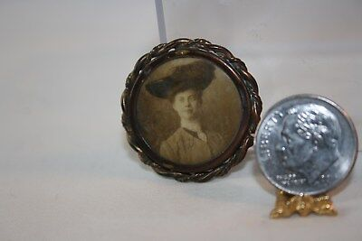 Miniature Dollhouse Antique Pinback Button Sepia Photo Portrait Victorian Lady