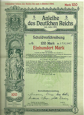 Consecutive Pair of 1915 German bonds with coupons