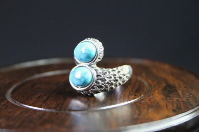 Decor Exquisite Handwork Miao Silver Carve Feather Inlay Green Bead Beauty Ring