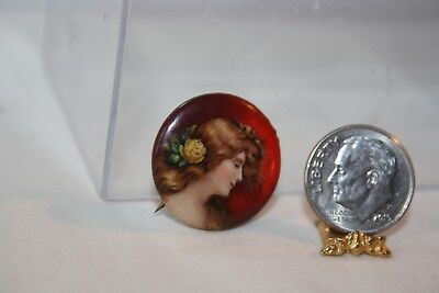 Miniature Dollhouse Antique Pinback Button w Pretty Lady Wall Picture 1:12 NR