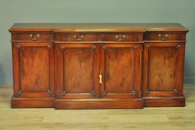Attractive Large Long Vintage Mahogany Breakfront Sideboard Cabinet