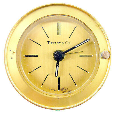 Tiffany & Co. Round Brass Alarm Clock For Parts Or Repairs