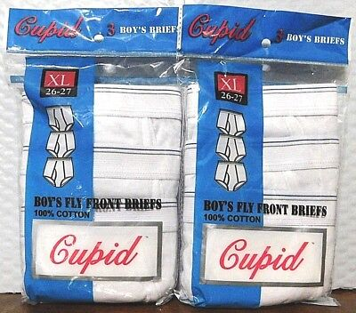 Cupid Boy's Fly Front Briefs 6 pair NIP Sz X-Large - (14-16) 100% Cotton White