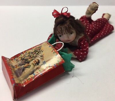 Miniature Girl Doll, Christmas Nightgown, OOAK, Hand Sculpted, B Justice