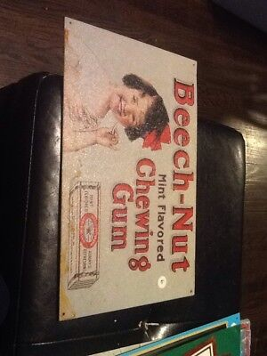 Beech-Nut Mint Flavored Chewing Gum Tin Advertising Sign reproduction. Used.