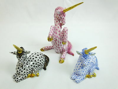 "Lot 3 Herend Porcelain Fishnet/Fishscale Unicorns 24K Accent 3.25"" Hand Painted"
