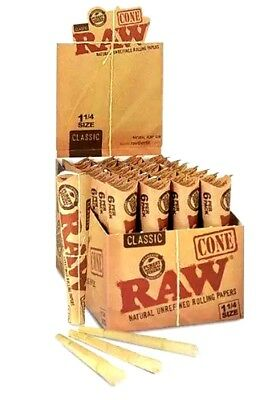 4 Packs Of 6 Pcs = 24 Pcs RAW Classic Hemp 1 1/4 Pre Rolled Cones Rolling Paper