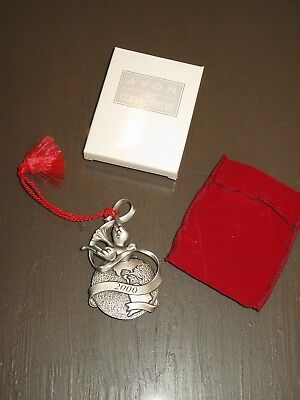Avon 2000 Pewter Ornament - Peaceful Millennium - With Box and Red Velvet Pouch