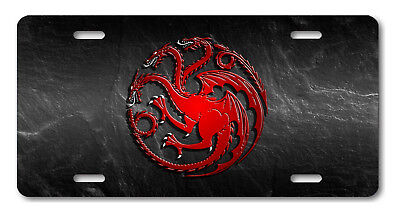 HOUSE TARGARYEN Game of Thrones Aluminum License Plate Car Truck Tag Stone Red