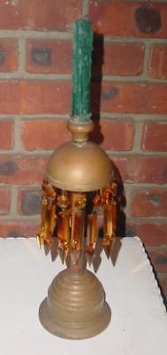 Tall Antique Copper Brass with long Amber Glass Prisms Unique Candlestick