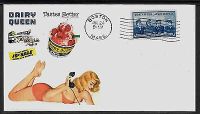 1950s Dairy Queen Ad & Pin Up Girl Featured on Collector's Envelope *A395