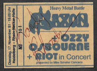 Randy Rhoads Autograph & Ozzy Concert Ticket Reprint On Genuine 1980 Card 9002