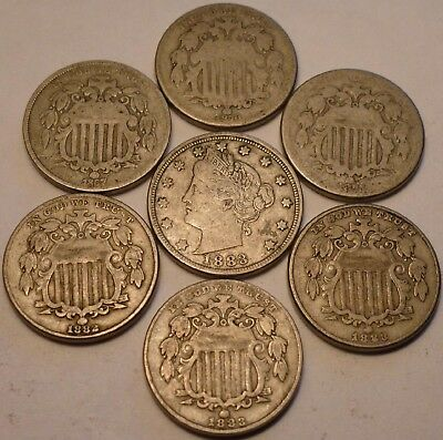 6 Shield Nickels (1867 to 1883) and Liberty Nickel (1883 w/o Cents)