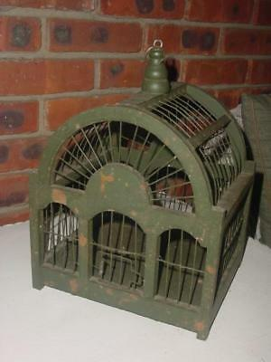 Vintage Wood & Wire Victorian Style Domed Bird Cage Green Painted Chic