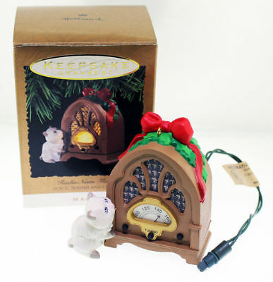 Radio News Flash Voice, Sound, and Light Hallmark Keepsake Magic Ornament MIB