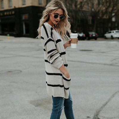 Women's Long Sleeve Coat Comfy Casual Stripe Top Open Front Sweater Cardigan