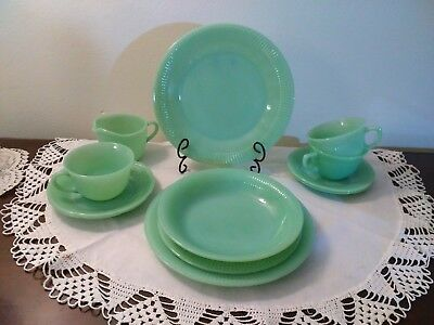 12 Piece Lot Of Fire King Jadeite Jane Ray/Alice Dishes